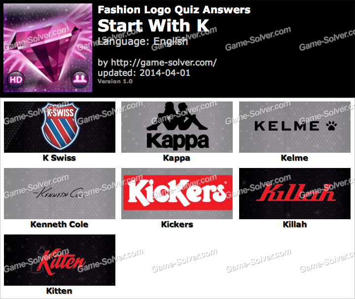 Fashion Logo Quiz Answers Start With K Game Solver