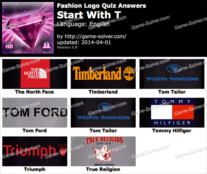 Fashion Logo Quiz Answers Start With T Game Solver