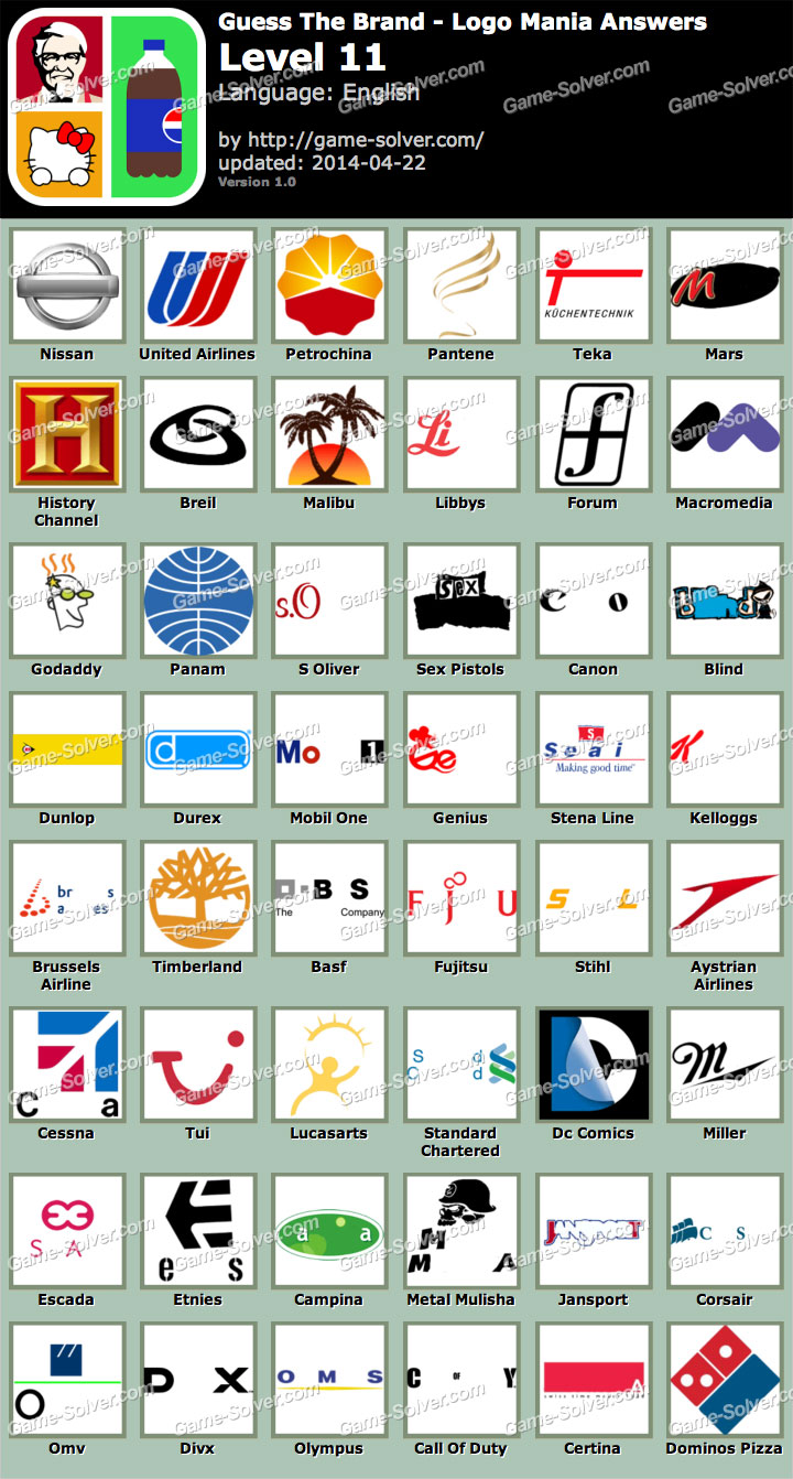 Guess The Brand Logo Mania Level 11 - Game Solver