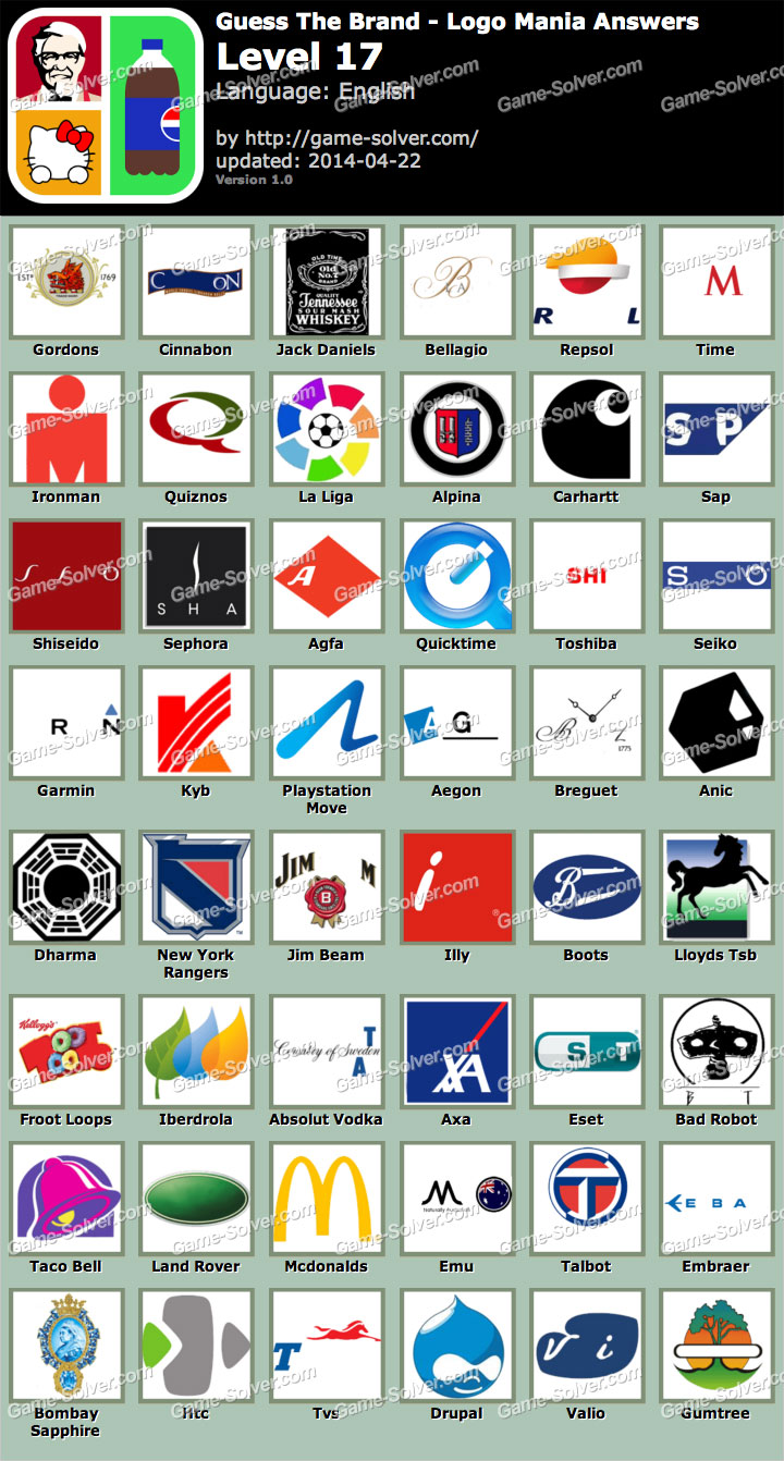 Guess The Brand Logo Mania Level 17 - Game Solver