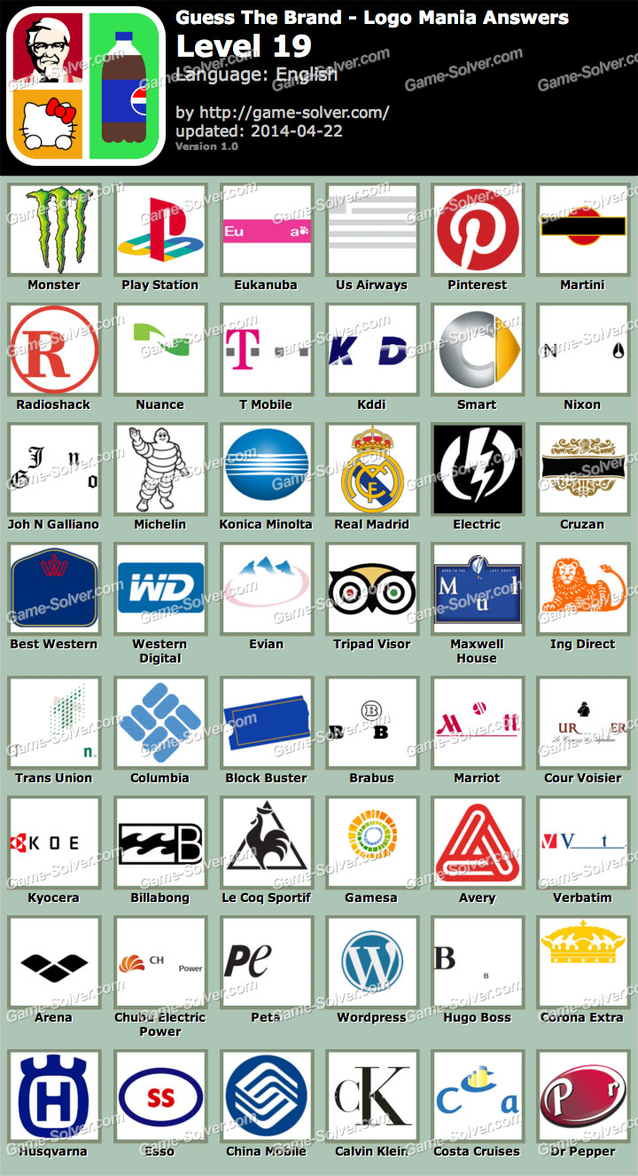Guess The Brand Logo Mania Level 19 - Game Solver