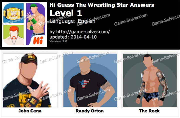 Hi Guess The Wrestling Star Level 1