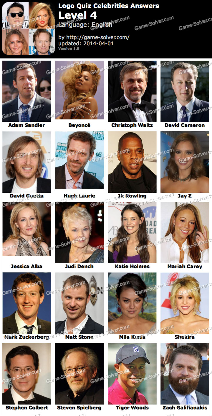 Celebrity guess level 100 answer sheet
