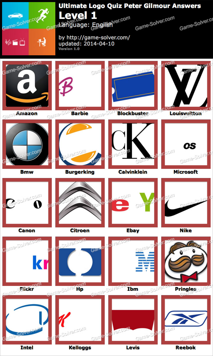 Ultimate Logo Quiz Peter Gilmour Level 1