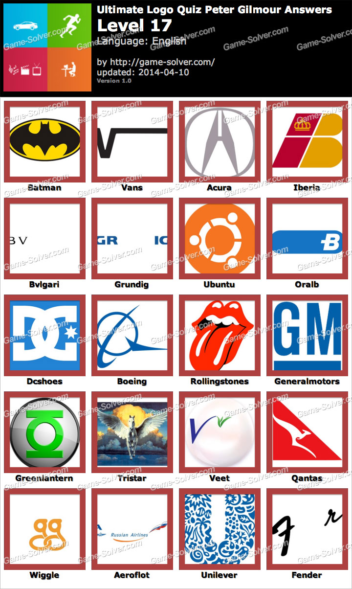 ultimate logo quiz peter gilmour level 17 game solver