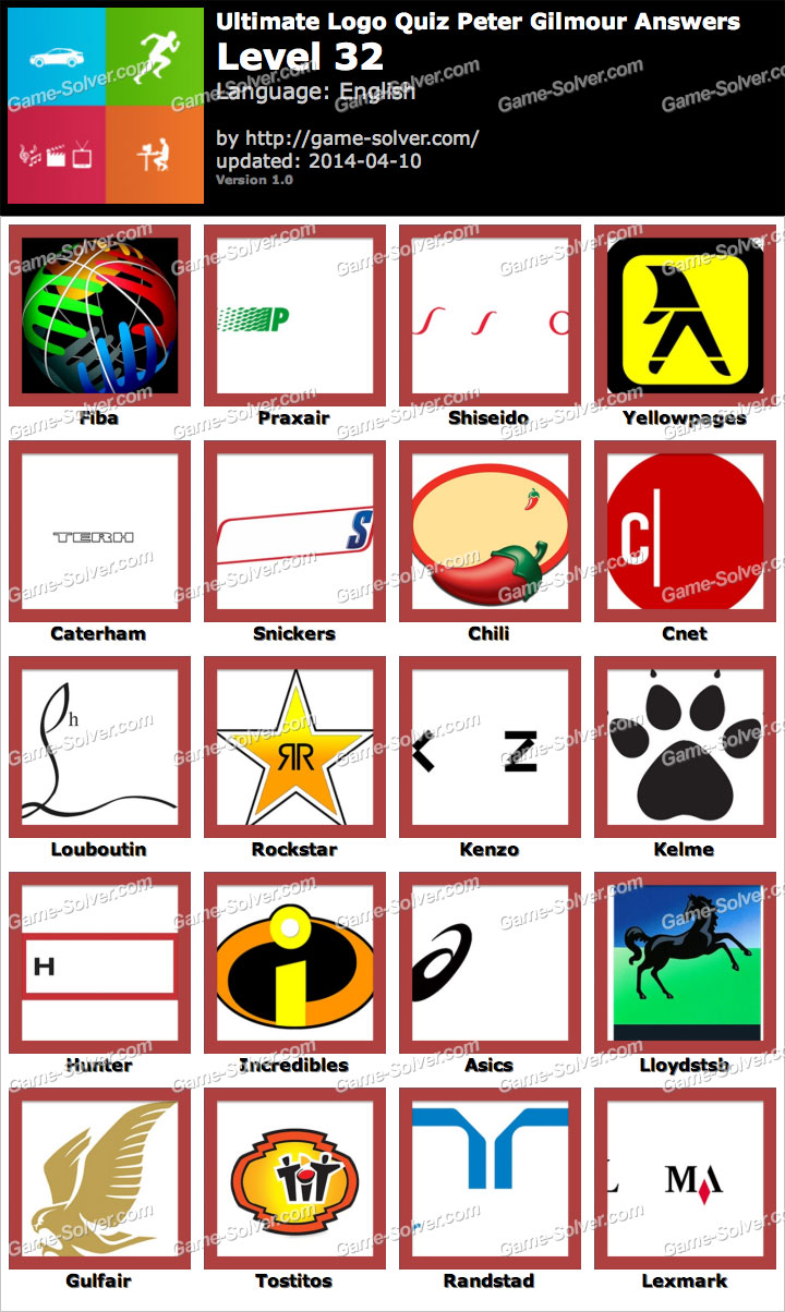 ultimate logo quiz peter gilmour level 32 game solver