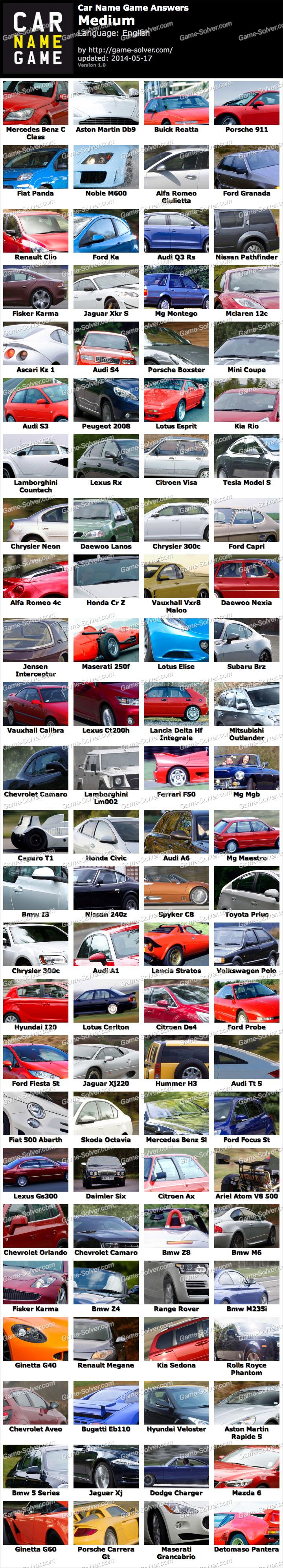 car name game medium answers   game solver
