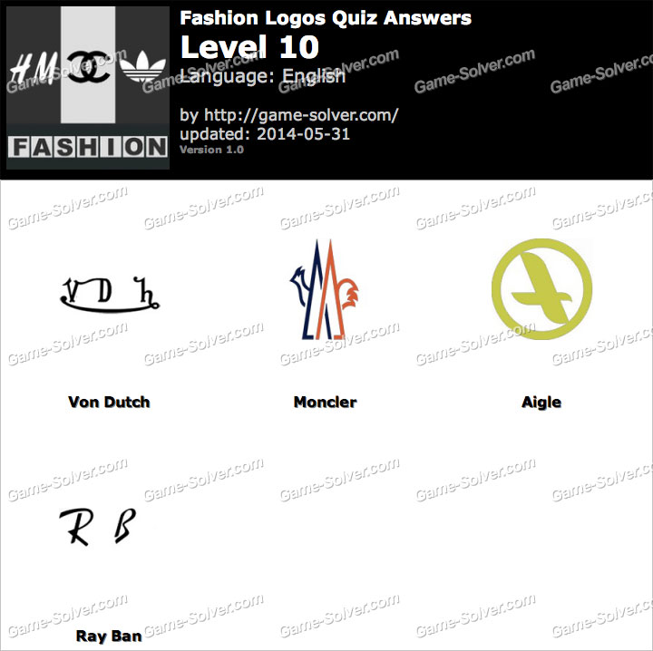 Fashion Logos Quiz Level 10 Game Solver