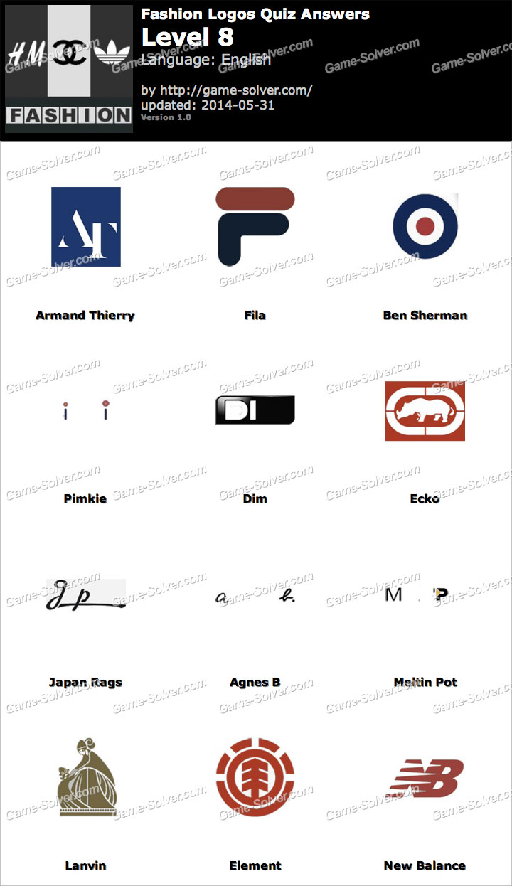 Logo Quiz Answers Level 8 Android App Fashion Logos Quiz Lev...