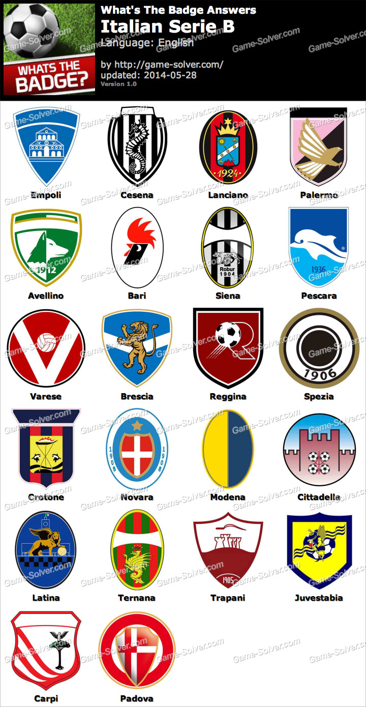 Whats the badge italian serie b answers game solver for Italy b b