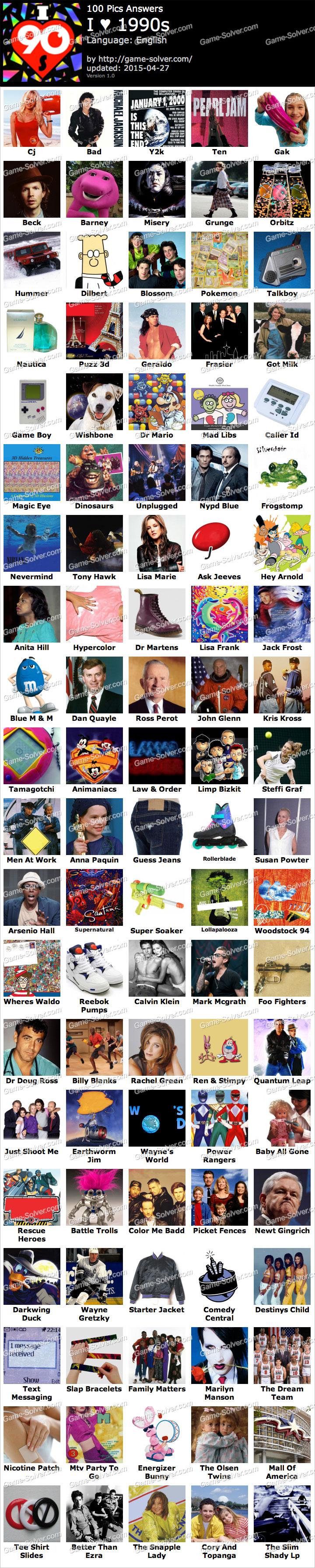100 Pics Answers i Love 90s 100 Pics i Love 1990s