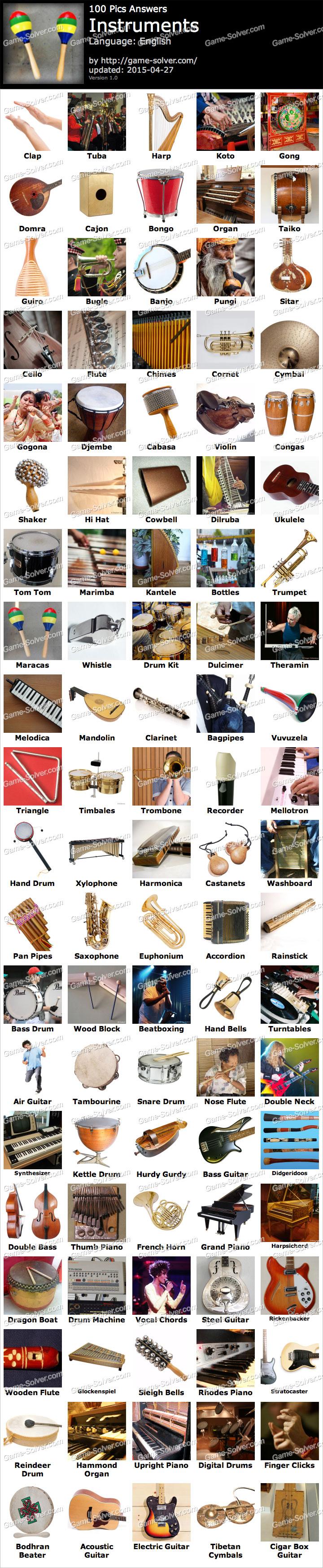 100 Pics Instruments Game Solver