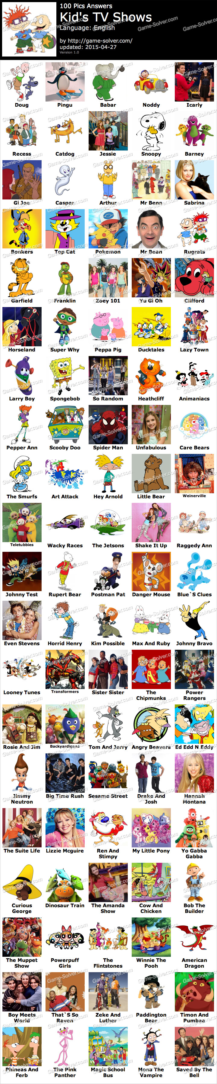 Pics Kids Tv Shows Game Solver