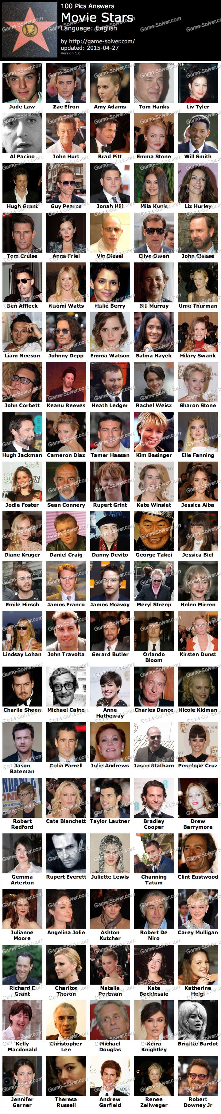 Quiz pics 100 movie stars