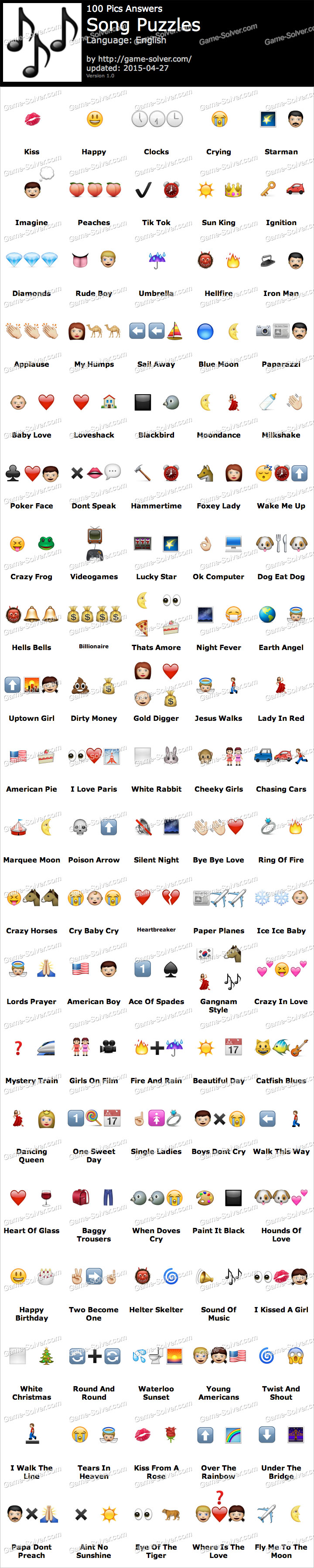 100 Pics Song Puzzles - Game Solver