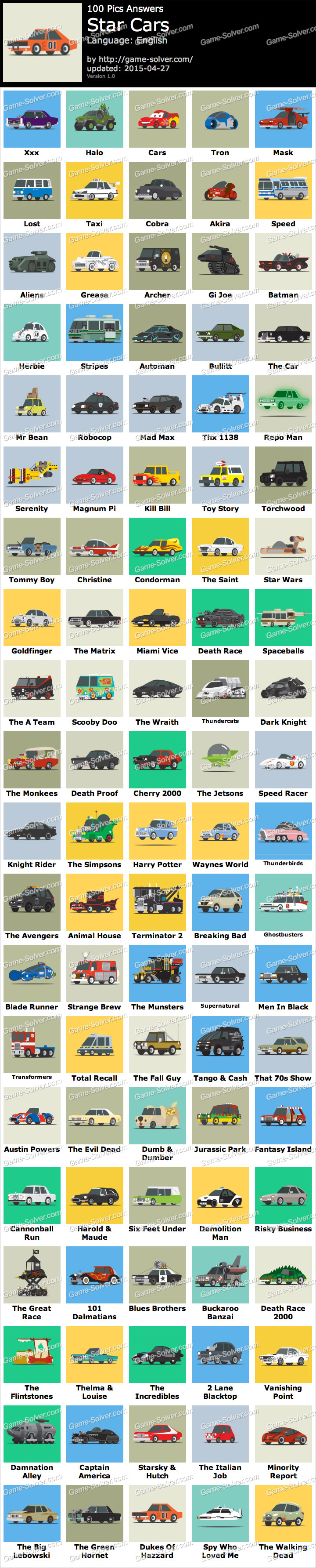 100 Pics Star Cars Game Solver