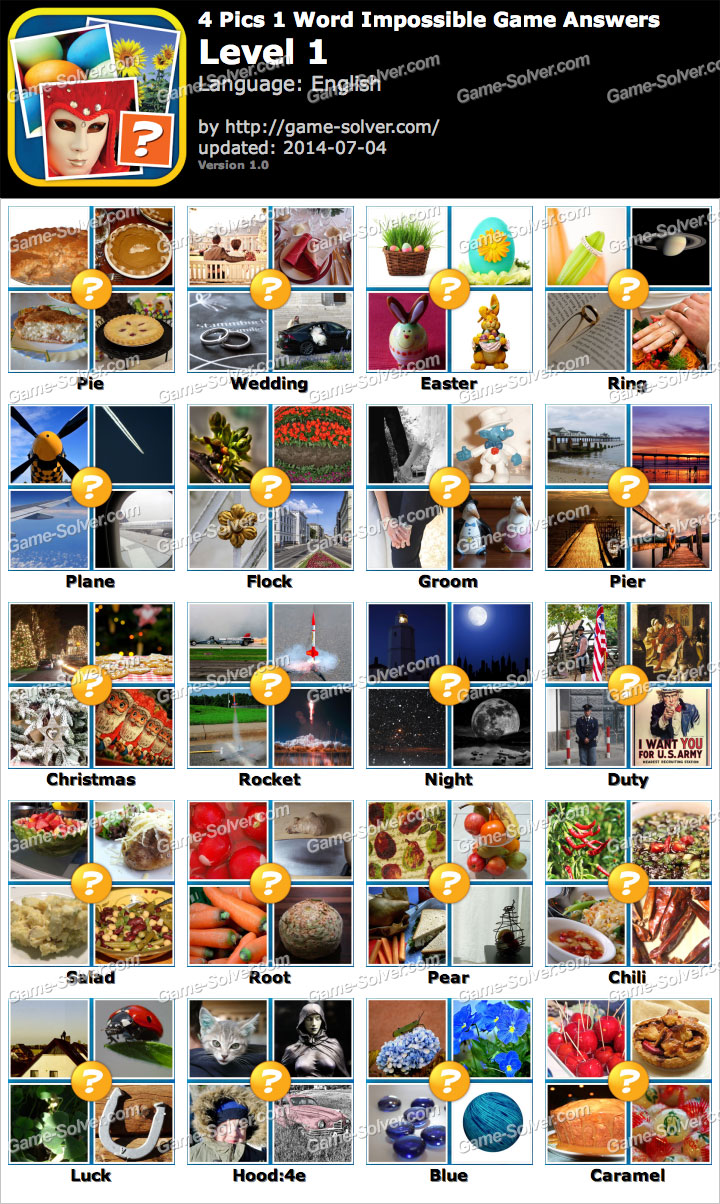 4 Pics 1 Word Impossible Game Answers Game Solver