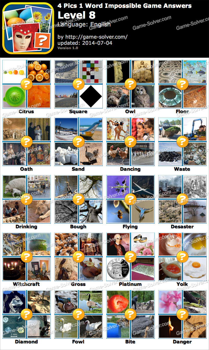 4 Pics 1 Word Impossible Game Level 8 - Game Solver