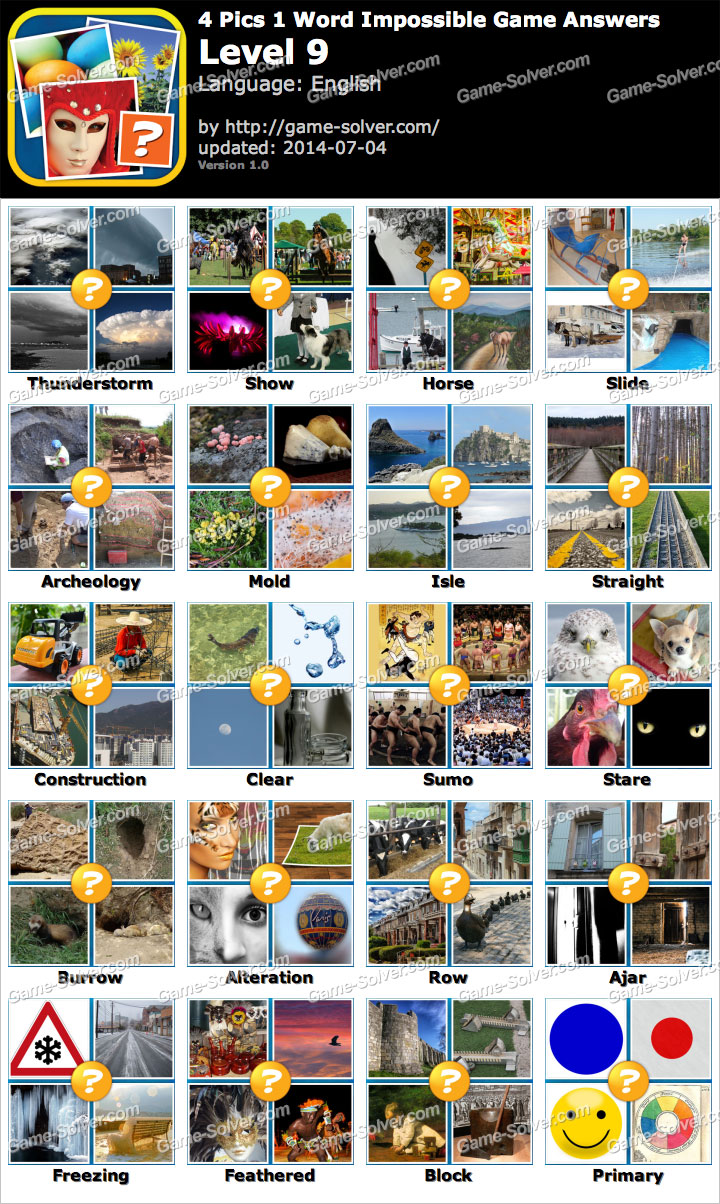 4 pics 1 word impossible game level 9 game solver 4 pics 1 word impossible game level 9 expocarfo Images