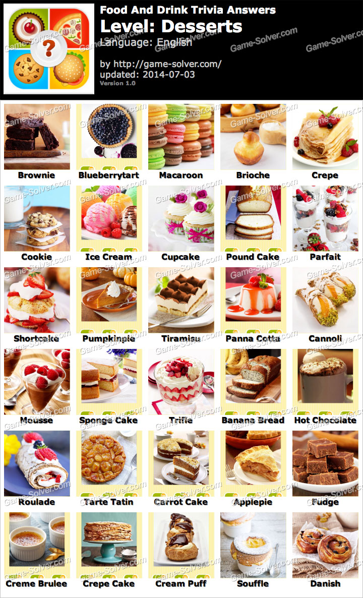 food drink trivia answers desserts game level solver