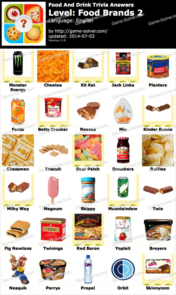 Food and Drink Trivia Food Brands 2 Answers - Game Solver
