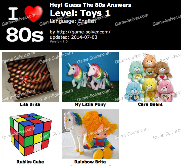 Hey Guess The 80s Toys 1 Answers
