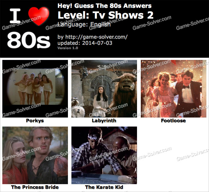 Hey Guess The 80s Tv Shows 2 Answers - Game Solver