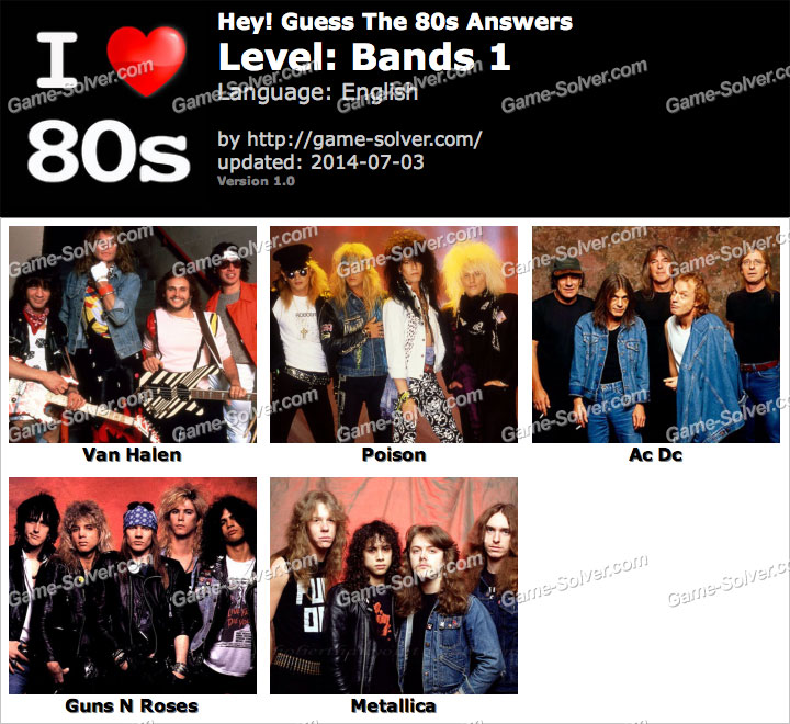 Hey Guess The 80s Bands 1 Answers - Game Solver