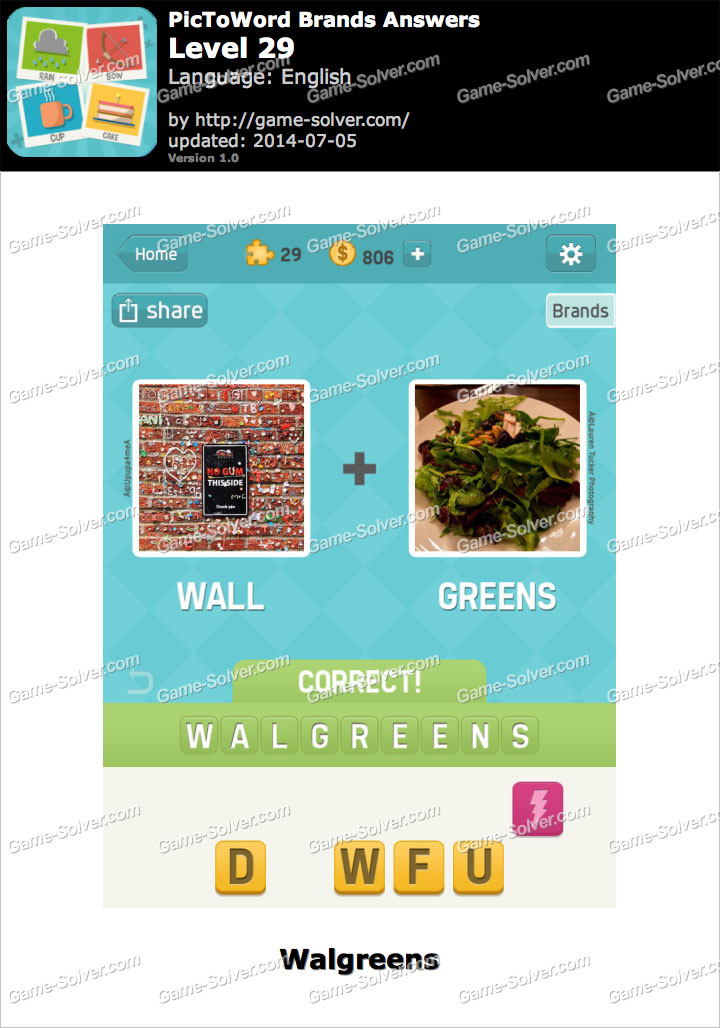 Pictoword Brands Level 29 Game Solver