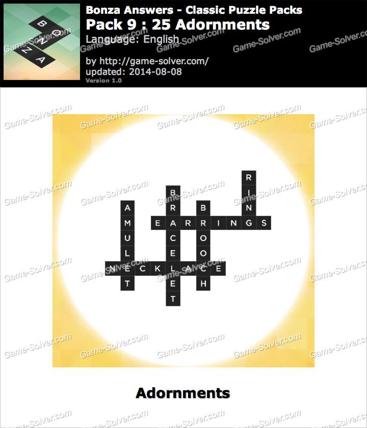Bonza Answers Classic Puzzle Pack 9 25 Adornments