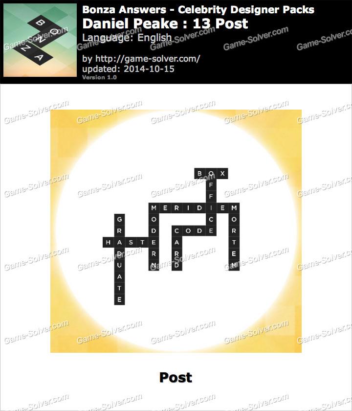 Bonza answers daniel peake 13 post game solver
