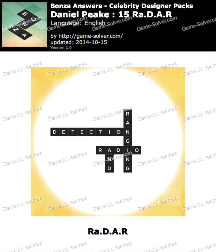 Bonza answers daniel peake 15 ra d a r game solver