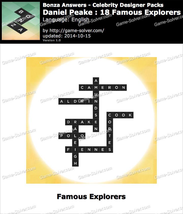 Bonza Answers Daniel Peake 18 Famous Explorers - Game Solver