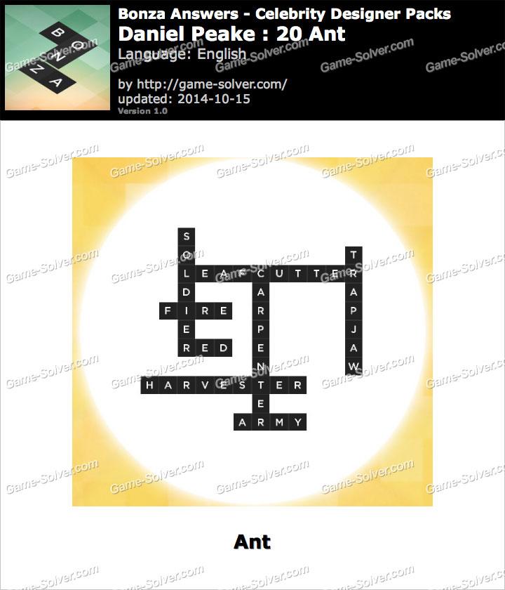 Bonza answers daniel peake 20 ant game solver