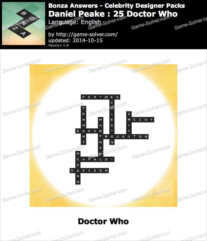 Bonza answers daniel peake 25 doctor who game solver