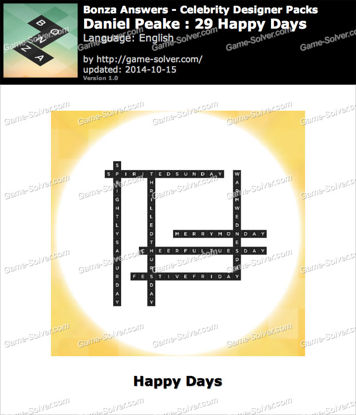 Bonza answers daniel peake 29 happy days game solver