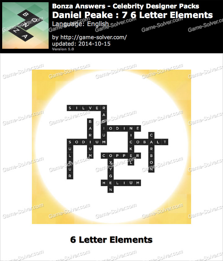 Bonza answers daniel peake 7 6 letter elements game solver