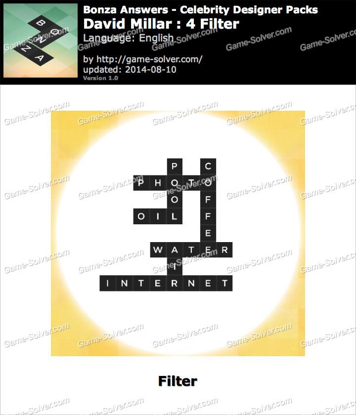 Bonza answers david millar 4 filter game solver