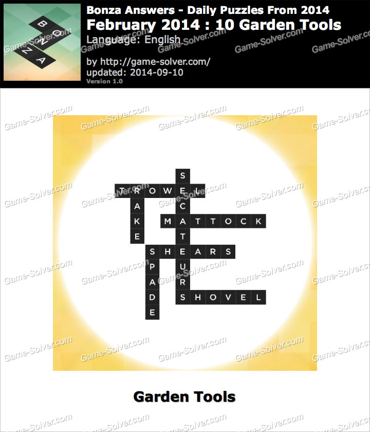 Bonza answers february 2014 10 garden tools game solver for Gardening tools 94 game