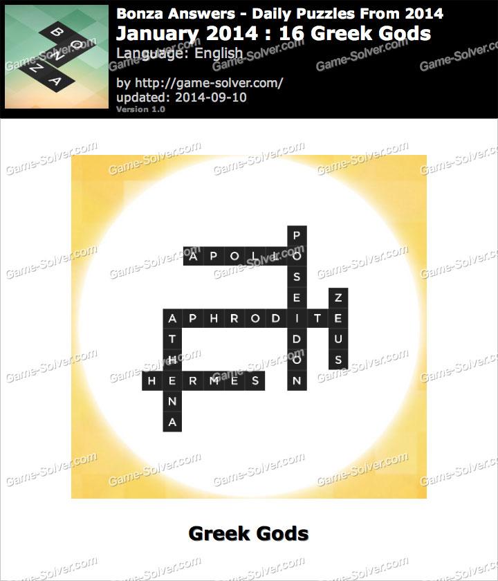 Bonza Answers January 2014 16 Greek Gods Game Solver
