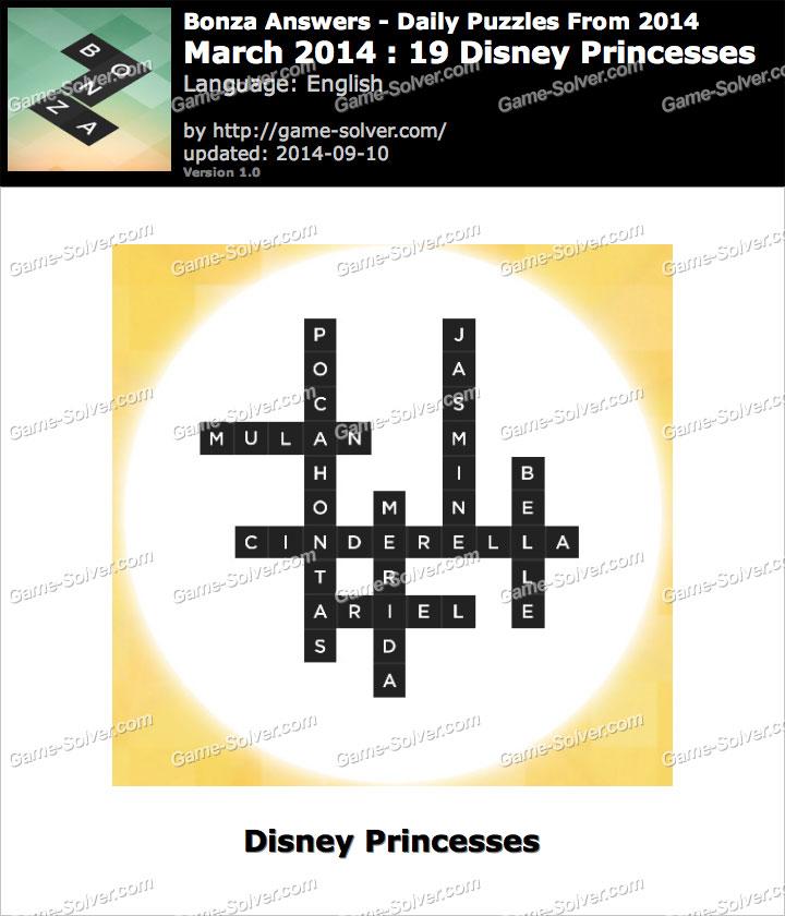 Bonza Answers March 2014 19 Disney Princesses - Game Solver