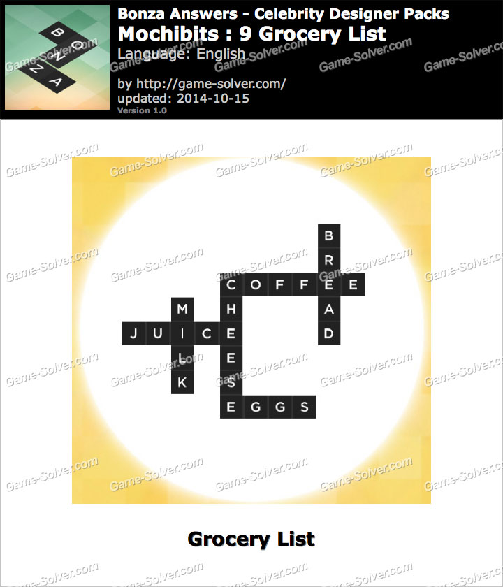 Bonza Answers Mochibits 9 Grocery List - Game Solver