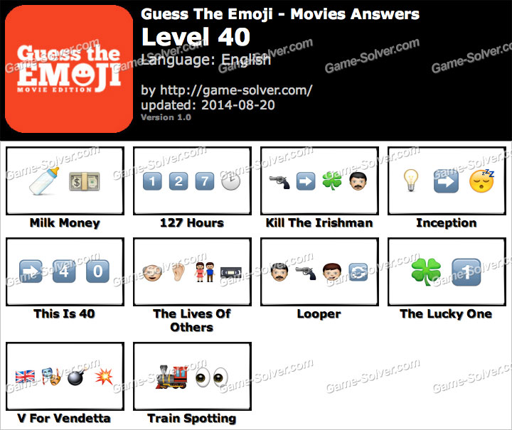 Guess The Emoji Movies Level 40 Game Solver