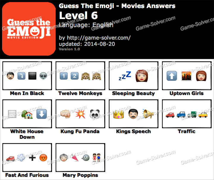 guess the emoji movies level 6 game solver