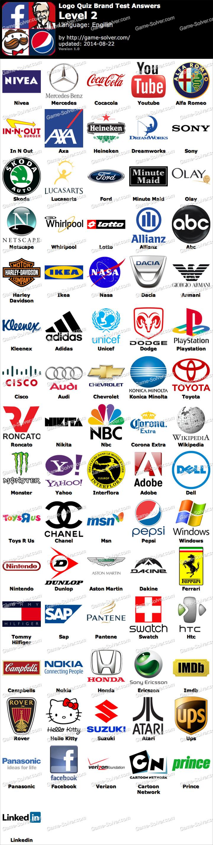Logo quiz brand test level 2 game solver
