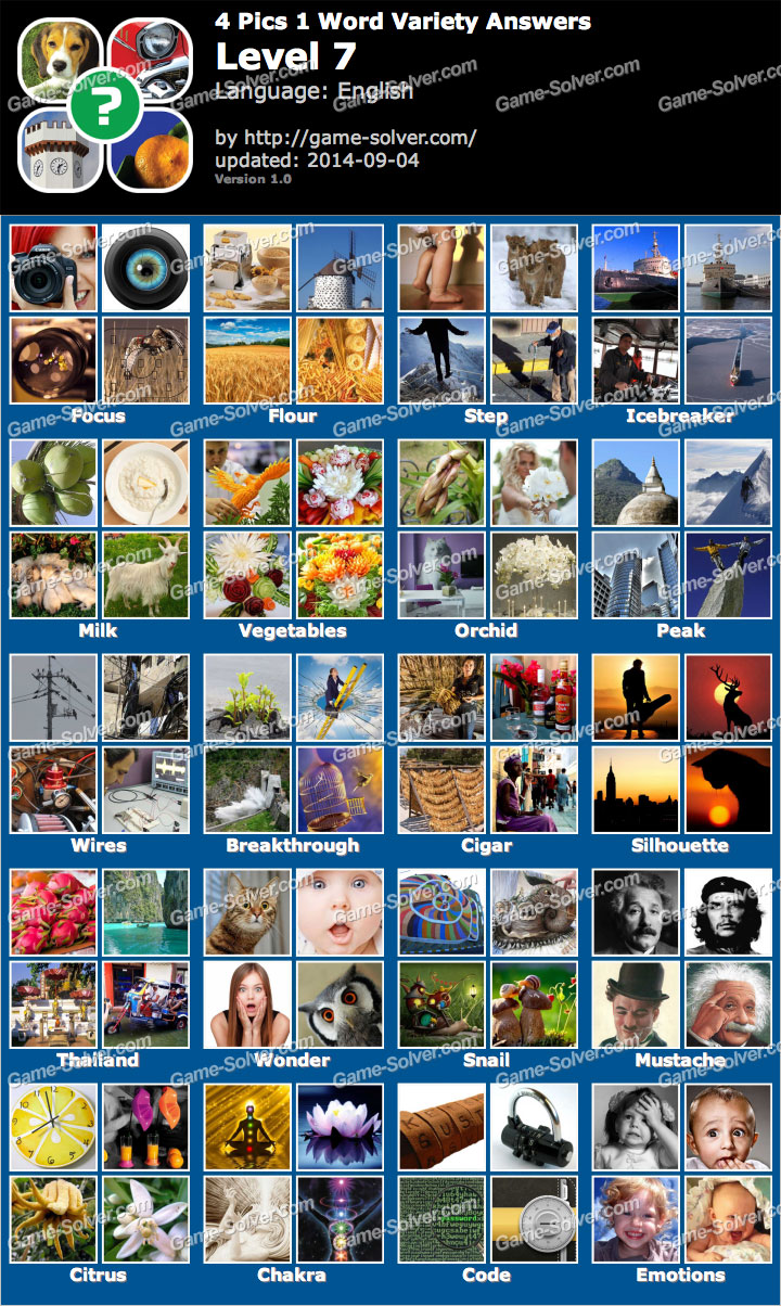 4 Pics 1 Word Variety Level 7 Game Solver