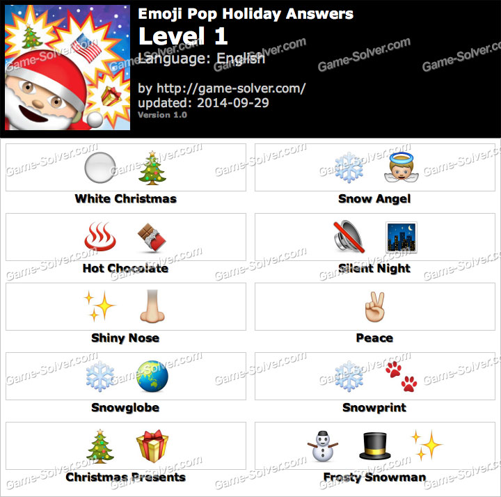 Emoji Pop Holiday Edition Answers Game Solver