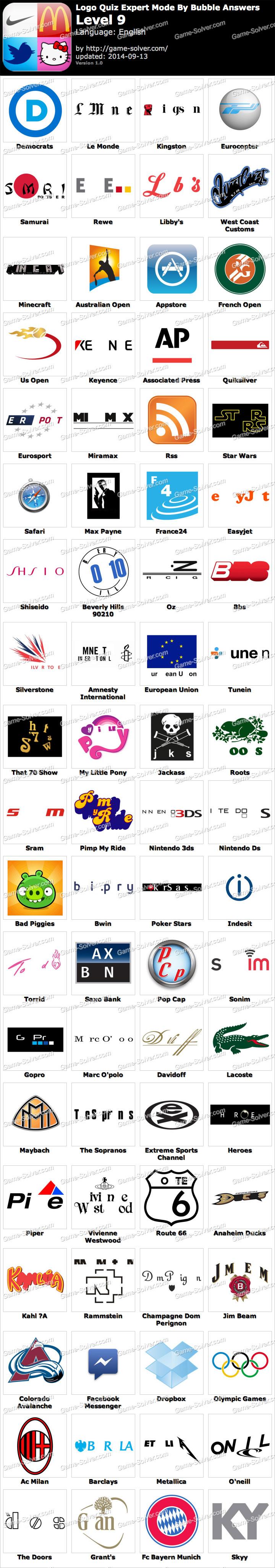 Logo Quiz Expert Mode Bubble Level 9 - Game Solver