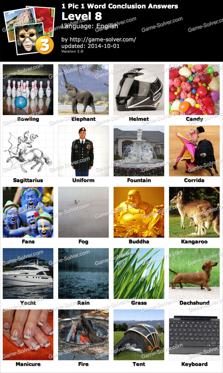 Pics words solution niveau 1 - 1 Pic 1 Word Conclusion Level 8