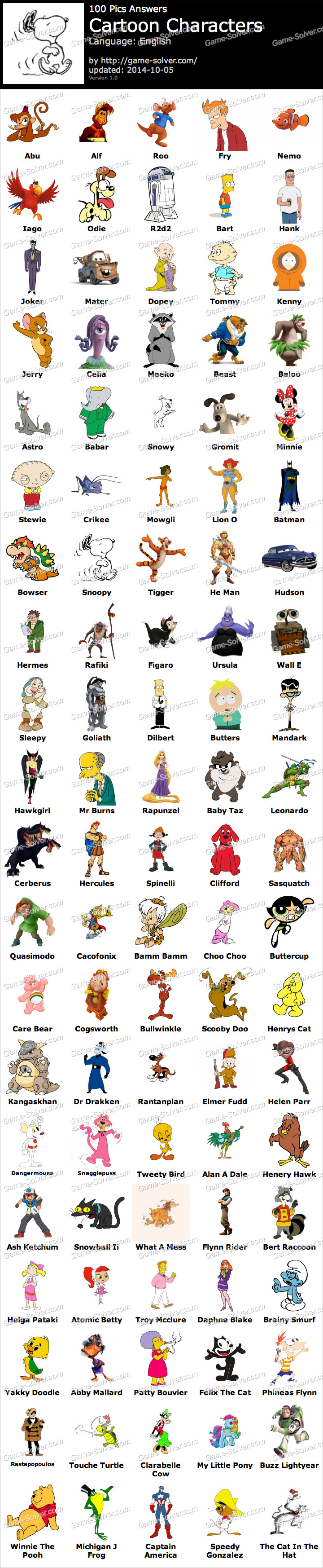 Cartoon Characters 2 100 Pics : Pics cartoon characters game solver